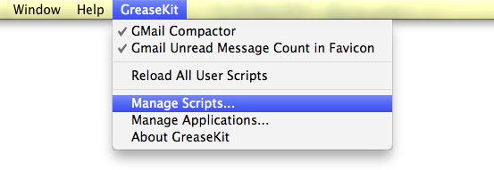 Команды GreaseKit в строке меню Safari.