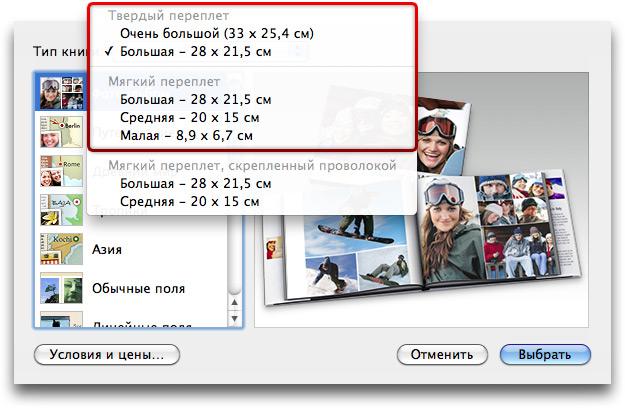 Диалог выбора темы книги iPhoto '09.