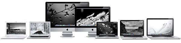 Черно-белые обои на экранах Макинтошей.