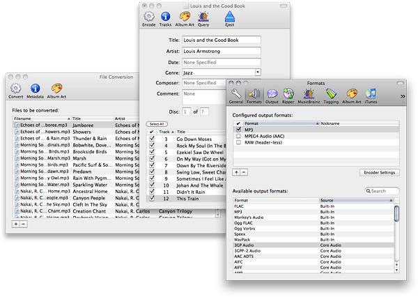 Max: окна очереди обработки аудиофайлов и Audio CD, диалог настройки программы.