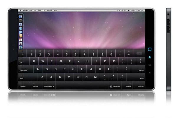 Одна из фантазий на тему дизайна планшетного компьютера Apple.