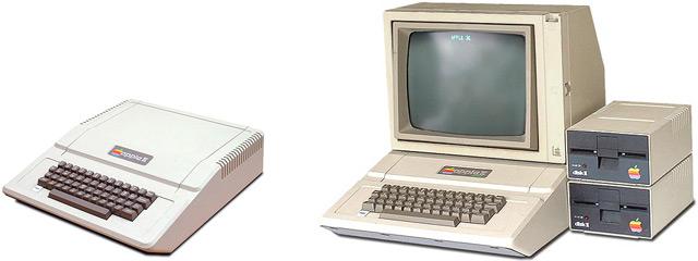 Apple II и Apple II Plus, оснащенный монитором и дисководами.