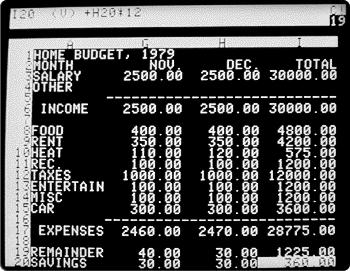 Табличный редактор VisiCalc.