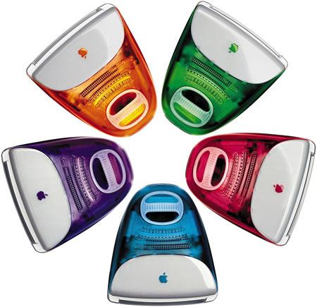 iMac образца 1998 года в пяти цветовых вариантах (вид сверху).