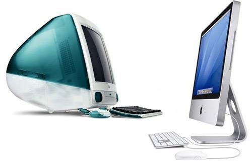 Для сравнения: iMac образца 1998 и 2007 годов.