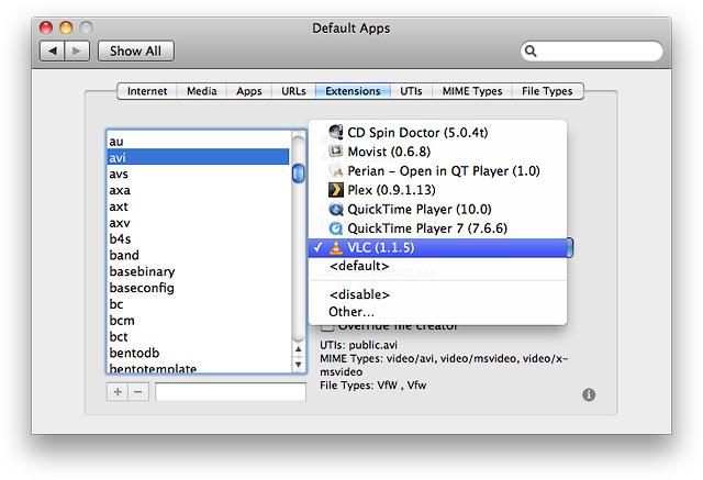 Вкладка Extensions. Определение привязки приложения к расширению avi.