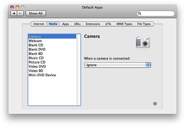 Вкладка Media. Проверка действия, назначенного при подключении к Маку камеры.