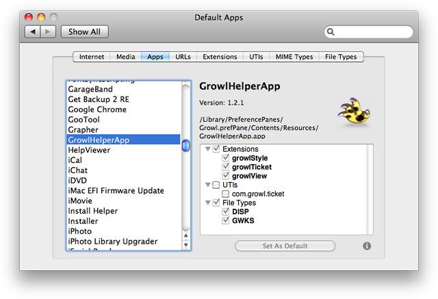 Вкладка Apps. Настройка службы визуальных сообщений Growl.