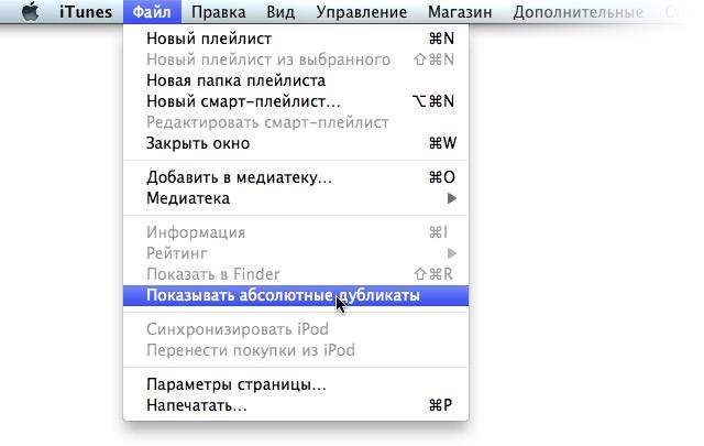 Команда отображения абсолютных дубликатов в iTunes.
