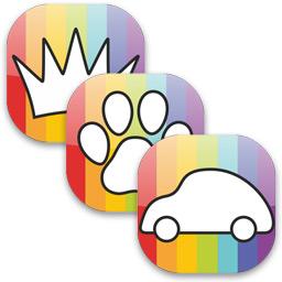 Иконки раскрасок: средства передвижения, животные, принцессы.