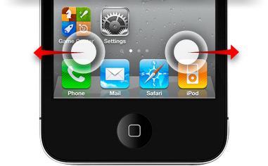 Листание домашних экранов в одно касание экрана.
