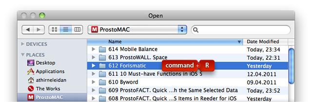 Клавиши command+R в диалоге открытия данных.