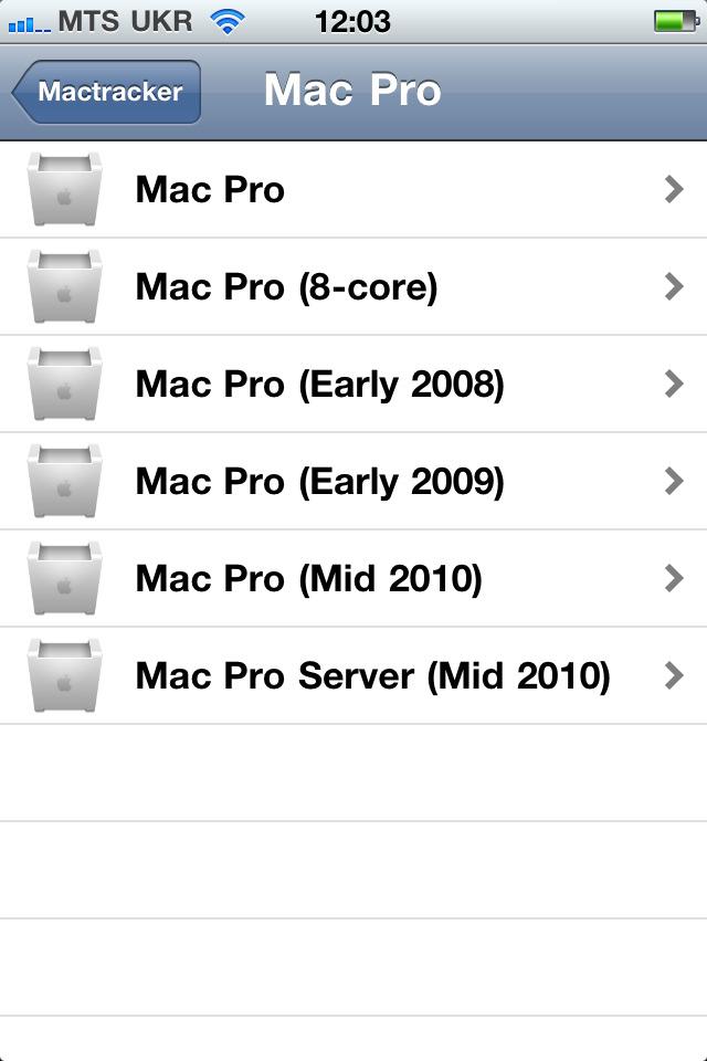 Перечень конкретной категории в iOS-версии приложения.