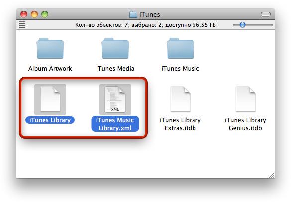 Основные файлы медиатеки iTunes.