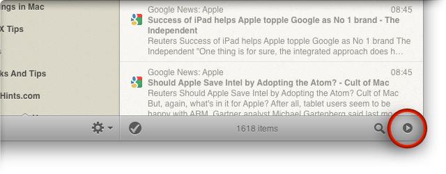 Кнопка переключения между двух- и трехпанельным режимами в Reeder for Mac.