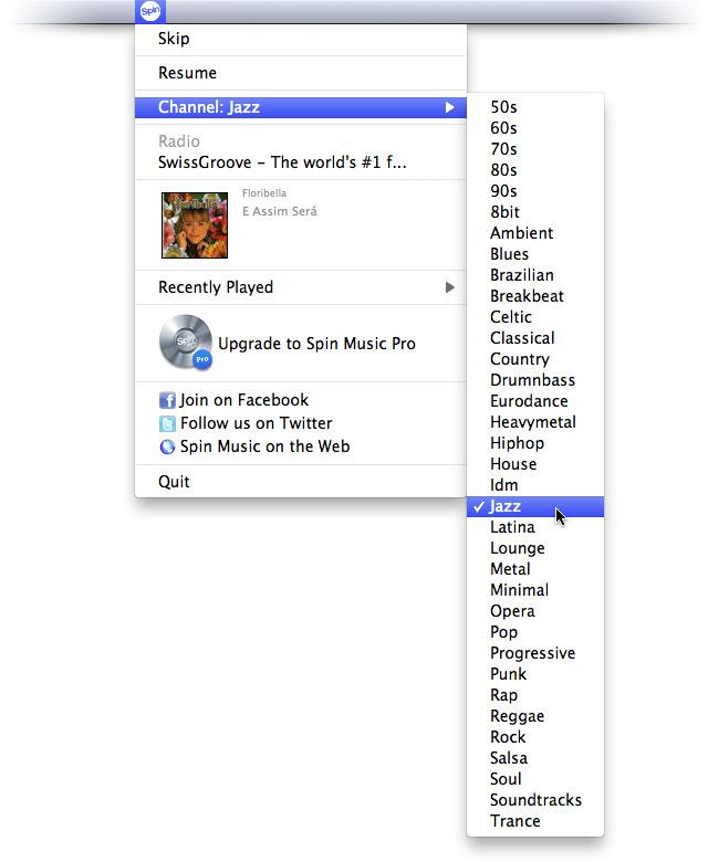Список радиоканалов в бесплатной версии Spin Music.