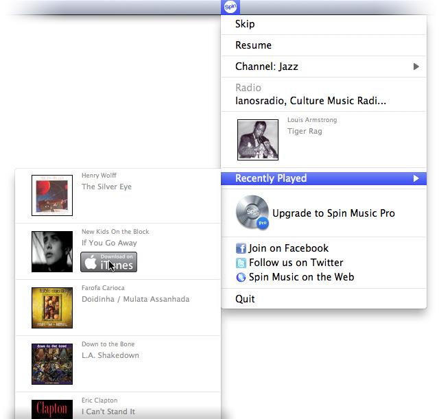 Список ранее прослушанных треков со ссылкой на iTunes Store.