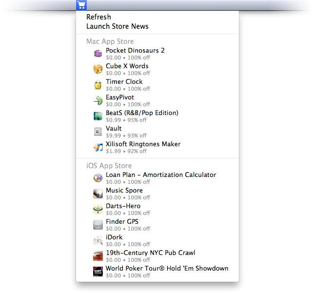 Меню значка программы в строке меню Mac OS X.