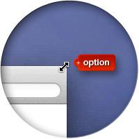 Курсор мыши при настройке размера окна с клавишей option.