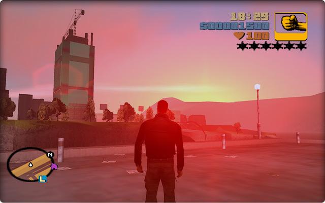 Grand Theft Auto III. Закат над стройкой на Стонтон-Айленде. Вид с портлендской набережной