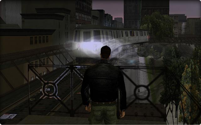 Grand Theft Auto III. Приход поезда верхнего метро к станции в Портленде.