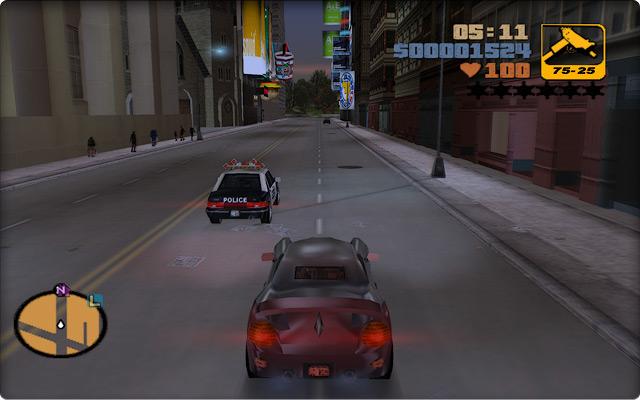Grand Theft Auto III. Поездка по проспекту в бизнес-центре Стонтон-Алэнда.
