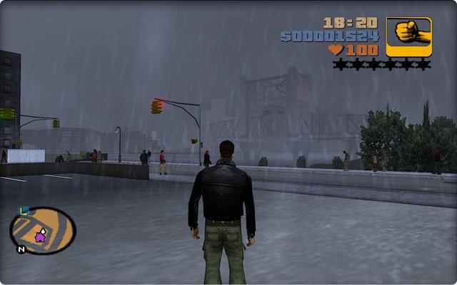 Grand Theft Auto III. Вид на Шорсайдский подъемный мост в дождливый вечер.