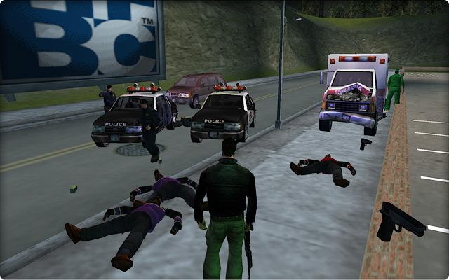 Grand Theft Auto III. Выполнение побочной миссии в районе Шорсайд-Вэйл.