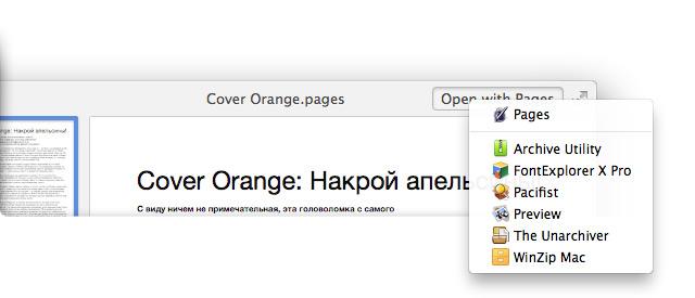 Меню кнопки открытия файла в окне Quick Look.