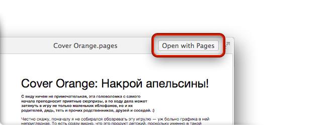 Кнопка открытия файла в окне Quick Look.