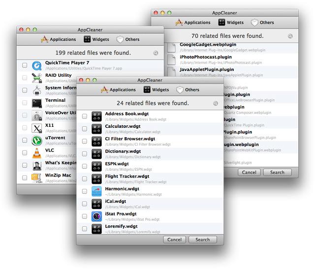 Списки приложений, виджетов и других программных модулей и расширений.