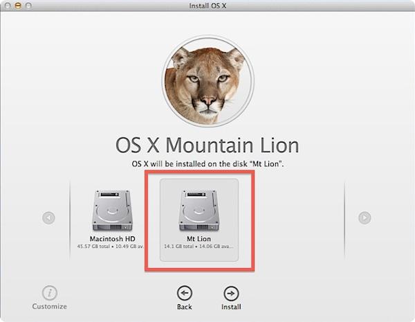os x 10.8 install