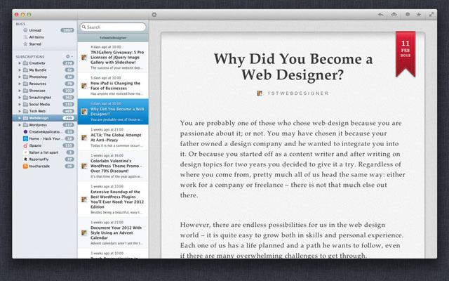 Клиент Google Reader для Mac