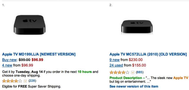 Amazon price Apple TV 3 and 2