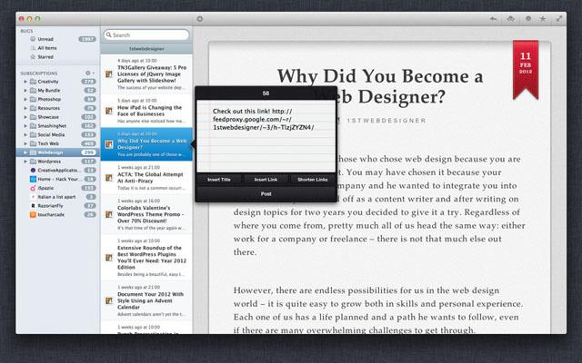 Клиент для Google Reader OS X