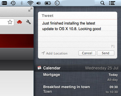 notification center tweet