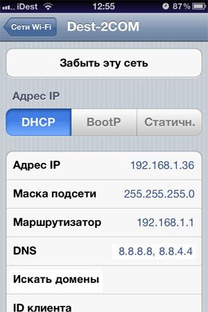 Google DNS для iOS 6
