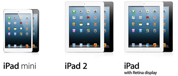 iPad mini, iPad 2, iPad Retina