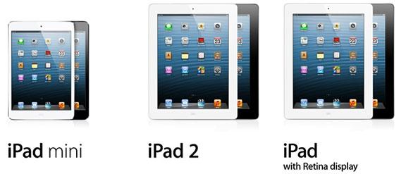 iPad mini, iPad 2 и iPad 3