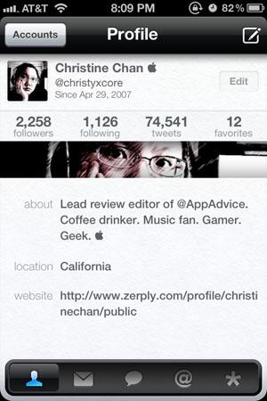 Красивый Twitter-клиент для iPhone