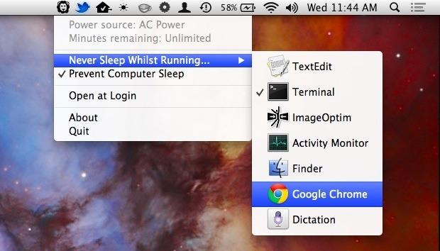 Отключаем спящий режим для избранных приложений в OS X