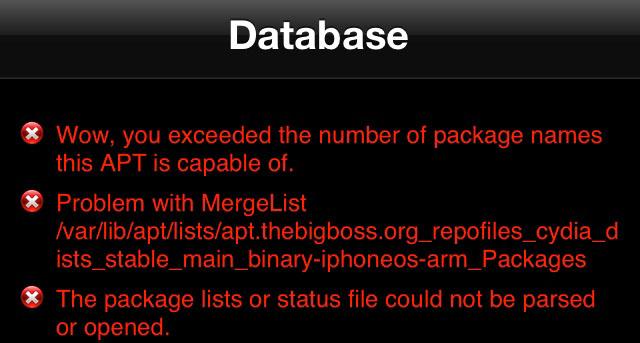 Ошибка с пакетами в Cydia