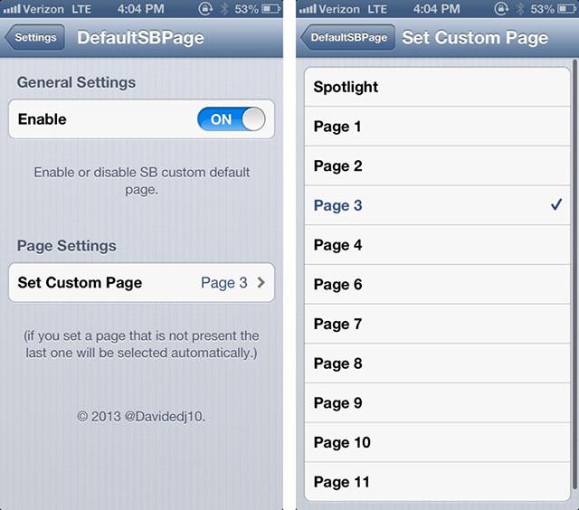 Выбрать страницу для загрузки по умолчанию на iOS