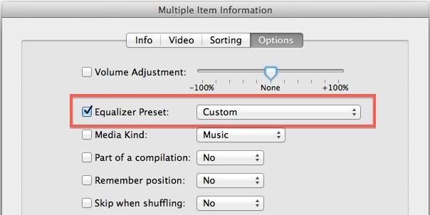 Ручная установка эквалайзера в iTunes
