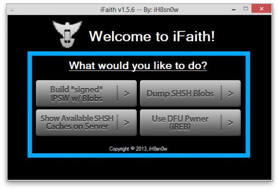 Утилита iFaith для даунгрейда прошивки iOS