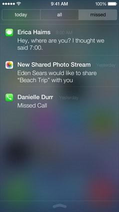 Размытый Центр Уведомлений в iOS 7