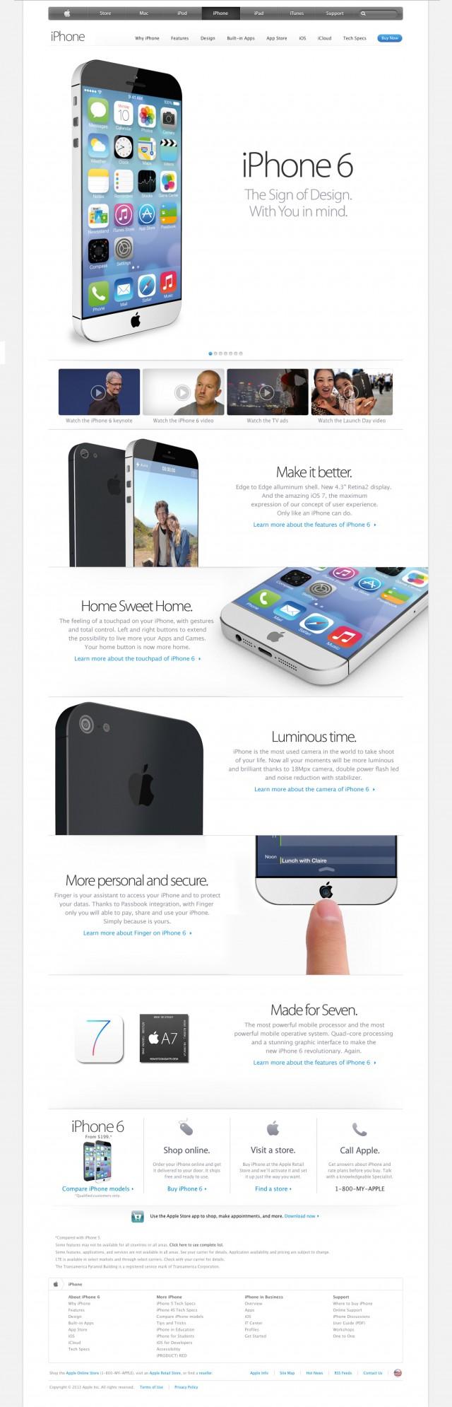 Концепт iPhone 6 на apple.com