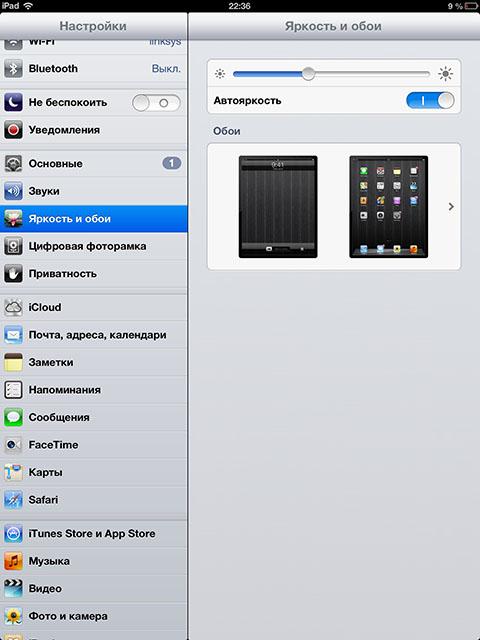 Уменьшаем яркость экрана на iPad