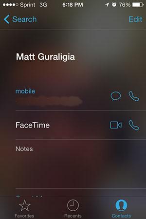 FaceTime в iOS 7