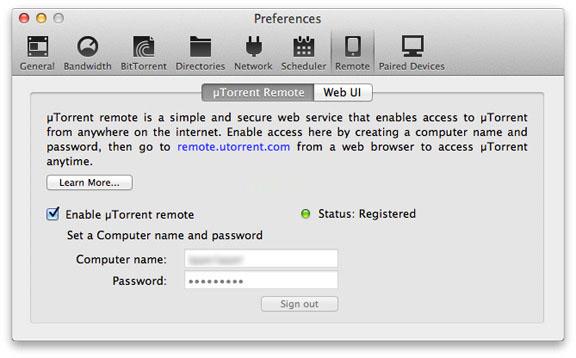 Веб-доступ к utorrent-закачкам на Mac